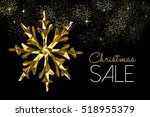 christmas sale gold winter... | Shutterstock . vector #518955379