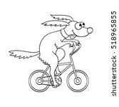 cute dog riding a bicycle....   Shutterstock .eps vector #518965855