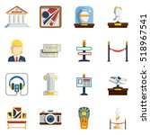 museum flat icon set with... | Shutterstock . vector #518967541