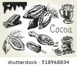hand drawn set of cocoa... | Shutterstock . vector #518968834