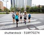 spanish school children cross... | Shutterstock . vector #518970274