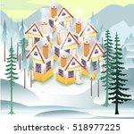 winter snowy background ... | Shutterstock .eps vector #518977225