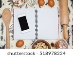 kitchen table with ingredients  ... | Shutterstock . vector #518978224