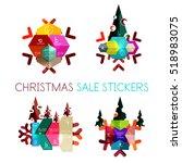 modern paper christmas stickers ... | Shutterstock .eps vector #518983075
