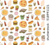 fast food vector pattern | Shutterstock .eps vector #518991121
