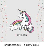 vector card with cute unicorn.... | Shutterstock .eps vector #518991811
