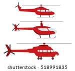 set of helicopters in flat... | Shutterstock .eps vector #518991835
