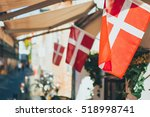 close up danish flag  copenhagen | Shutterstock . vector #518998741