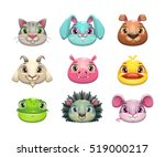 cute cartoon animal face icons...