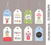 cute christmas labels set with... | Shutterstock .eps vector #519003694