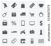 shopping icons set squares   Shutterstock .eps vector #519007075