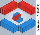 isometric container delivery. a ... | Shutterstock .eps vector #519007711