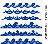 blue waves sea ocean vector... | Shutterstock .eps vector #519017401