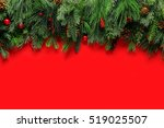 christmas branches background | Shutterstock . vector #519025507
