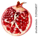 Half Of Pomegranate Isolated On ...