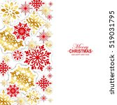 gold and red paper snowflakes... | Shutterstock .eps vector #519031795