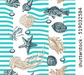 decorative sea seamless with...   Shutterstock .eps vector #519032584