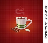 cartoon coffee cup. vector flat ... | Shutterstock .eps vector #519035401