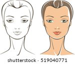 pure female face simple outline ... | Shutterstock .eps vector #519040771