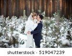winter wedding couple  bride... | Shutterstock . vector #519047239