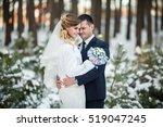 wedding in winter  happy couple ... | Shutterstock . vector #519047245