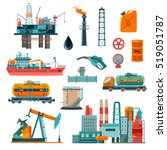 set of oil industry production... | Shutterstock . vector #519051787