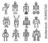 funny robots toys doodle style