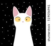 funny white cat with snowflakes.... | Shutterstock .eps vector #519056941