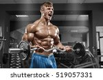 muscular man working out in gym ... | Shutterstock . vector #519057331