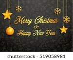 golden christmas greeting card | Shutterstock . vector #519058981