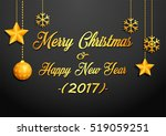 golden christmas greeting card | Shutterstock . vector #519059251