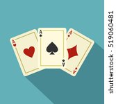Aces Playing Cards Icon. Flat...