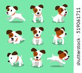 Stock vector cartoon character jack russell terrier dog poses 519061711