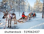 family with kids at reindeer... | Shutterstock . vector #519062437