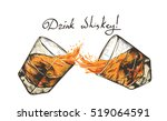 two glasses with whiskey.hand... | Shutterstock .eps vector #519064591