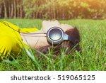 pretty girl lying in summer...   Shutterstock . vector #519065125