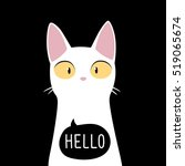 Funny White Cat With Quote...