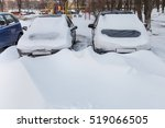 Cars Covered In Snow In The...
