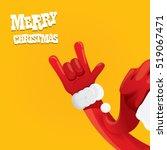 santa claus hand rock n roll... | Shutterstock .eps vector #519067471