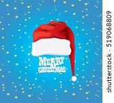 vector red santa hat on stars... | Shutterstock .eps vector #519068809