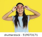 asian girl sunglasses smiling... | Shutterstock . vector #519073171
