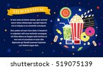 vector flat movie elements with ... | Shutterstock .eps vector #519075139