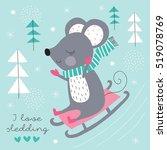 cute mouse sledding down vector ... | Shutterstock .eps vector #519078769