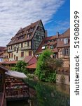 Small photo of Little Venice quarter and River Auch in Colmar, Haut Rhin of Alsace, of France.