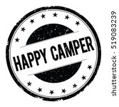Happy Camper Stamp Sign Text...