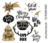 merry christmas lettering set.  ...