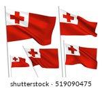 tonga vector flags set. 5 wavy... | Shutterstock .eps vector #519090475