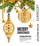 christmas card with golden...   Shutterstock .eps vector #519092197