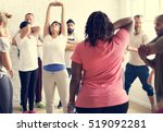 diversity people exercise class ... | Shutterstock . vector #519092281