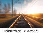 railroad in motion at sunset.... | Shutterstock . vector #519096721